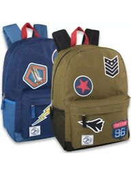 Lot of 24 Wholesale 18 Inch Patches Backpack With Side Pockets For Boys & Teens