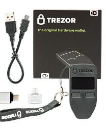Vuviv Trezor Black Bitcoin Wallet Bundle With Rfid Pouch 2 Usb Adapters For G...