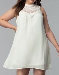 As U Wish Brand New Juniors Cream Color Embroidered Shift Dress Size M