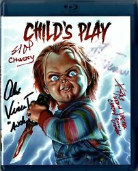 Childs Play Bluray Signed By Cast Vincent, Hicks, Dourif, And Doll Creator Yaghe