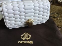 Roberto Cavalli Crossbody White Handbag Mimil Party Size Antique Gold Furniture