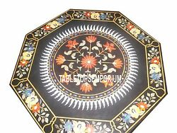 30 Black Marble Center Corner Table Marquetry Inlaid Hakik Floral Outdoor Decor