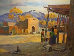 22x28 Org. Oil Painting By Edward J. Hummer Of Navajo Village And Church Taos Nm