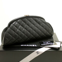 CHANEL Authentic Caviar Timeless Clutch Bag Black Quilted Silver Hw MINT n28