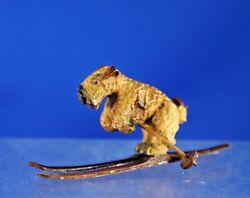 Vintage Hand Carved Terrier Dog on Skies 2