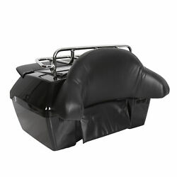 Motorcycle Tour Pack Trunk Tail Luggage Box W/ Tail Light And Top Rack And Backrest