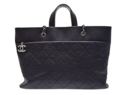 Authentic Chanel Women's Caviar Leather Tote Bag Black 802500021568000