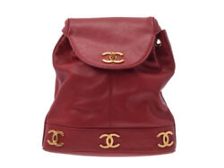 Authentic Chanel Women's Caviar Leather Backpack Red 805000913183000