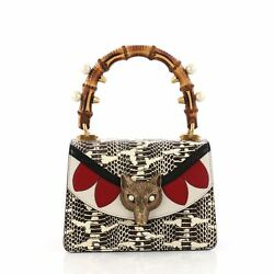 Gucci Broche Bamboo Top Handle Bag Snakeskin with Leather Mini