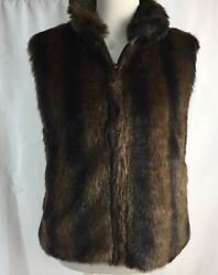 Coaco New York Faux Fur Mink Reversible Vest Women's Small S Brown Black EUC