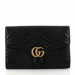 Gucci GG Marmont Flap Clutch Matelasse Leather