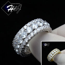 925 STERLING SILVER FULL ICY DIAMOND 9MM GOLD SILVER WEDDING BAND RING*R105 $39.99