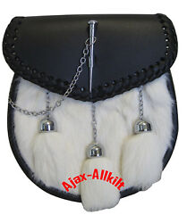 Men's Great Scottish Rabbit Fur Leather Sporrans with Key Lock  Chain