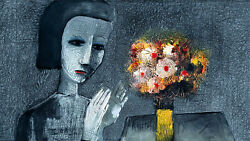 Charles Blackman 'girl With Flowers' Limited Edition Archival Pigment Print