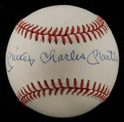 Beautiful Mickey Charles Mantle Full Name Signed Baseball PSA DNA Graded NM 8