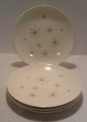 Vtg Mcm 1960and039s Royal China Star Glow Pattern 4 10 1/4 Dinner Plates