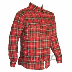 Flannel Shirt Fully Reinforced With Dupontandtrade Kevlarandreg Aramid S-6xl Black And Red
