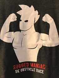 Rugged Maniac 5k Obstacle Race Graphic T-shirt Size Extra Large Gray