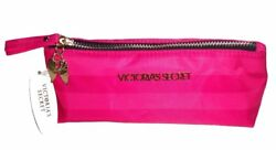 Victoria's Secret Cosmetic Bag Pink Striped Small Long Rectangle Shape.