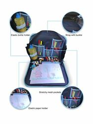 Car Seat Kids Travel Tray (in Blue) with Solid Surface  Messenger Bag for Ch...