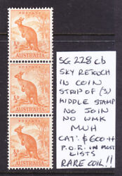 Coil Strip Of 3 1/2d Kangaroo No Wmk Sg 228cb Sky Retouch Middle Stamp Muh