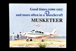 Beechcraft Vintage Musketeer Brochure Early 1960s Rare Usa Good Times Gift