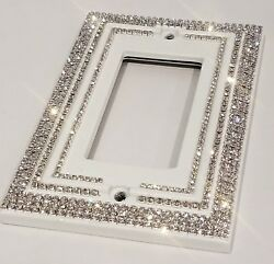 Crystal Bling Rhinestone Decorative White Light Switch Plate Cover Single Rocker