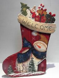 Big Christmas Wooden Stocking Snowman Toys 17 X 12 Primitive Country New