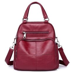 Leather Backpack School Bags For Womens Girls Soft Clutch Casual Tote Bookbags $31.34
