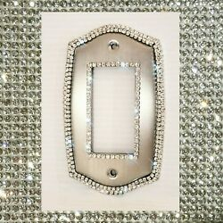Crystal Bling Rhinestone Decorative Round Light Switch Plate Cover Single Rocker