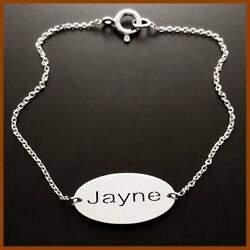 Personalized Silver Bracelet Name Charm Custom Christmas Gift For Her