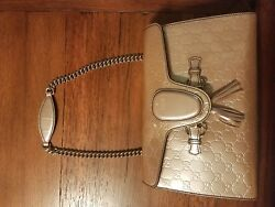 Emily Guccissima Shoulder Bag Crossbody Chain Leather Rose AUTHENTIC Gucci Italy