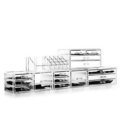 Felicite Home Acrylic Jewelry and Cosmetic Storage Makeup Organizer Set 5 Bags