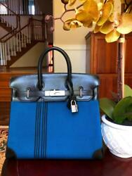 HERMES BLUE TOILE BLACK HAC 28 BIRKIN BAG SO RARE AND MUST HAVE FOR COLLECTORS!