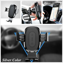 Silver Car Air Vent Mount Holder Quick Wireless Charger For 4.0-6.5'' Cell Phone