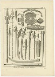 Pl. 2 Antique Print Of The Manufacturing Of Weapons By Diderot 1751