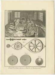 Pl. 4 Antique Print Of The Manufacturing Of Weapons By Diderot 1751