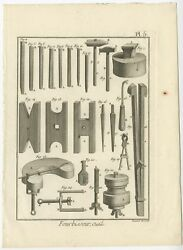 Pl. 5 Antique Print Of The Manufacturing Of Weapons By Diderot 1751