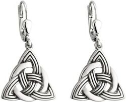 Trinity Knot Earrings Drop Rhodium Plated Irish Made