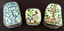 Antique Chinese Silver Trinket Boxes 3 W-porcelain Hand Inlaid Tops Early 1900and039s