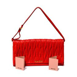 Authentic MIU MIU Red Matelasse Leather Small Evening Flap Bag Goldtone Hw