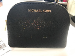 NWT Michael Kors LARGE Jet Set Cosmetic Makeup Bag Leather Pouch GOLD $128 RARE