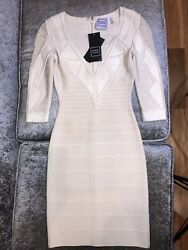 Herve Leger Small Spring Cream Sofie Leather Bandage Runway Dress Classy 4200