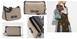 Coach Women's Shoulder Bag Swagger 20 in Glove Tanned Leather Chain strap Stone