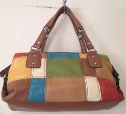 Relic By Fossil Multicolored Faux Leather Patch Work Design Hand Bag