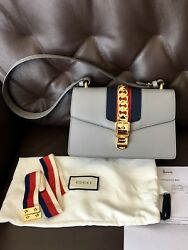 Authentic Gucci Sylvie Small Leather Bag in Grey