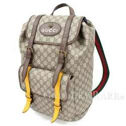 GUCCI Backpack Soft GG Supreme Canvas Beige Logo 473869 Italy Authentic 4899846