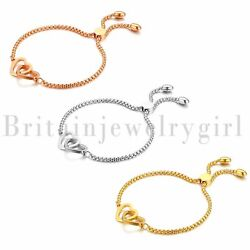 Stainless Steel Polished Dual Open Heart Cable Chain Bracelet for Women Girls