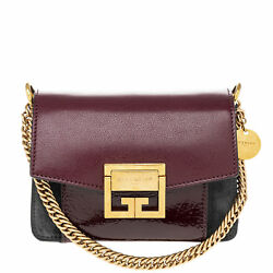 Givenchy Women's Small GV3 in Grained Leather and Suede Burgundy
