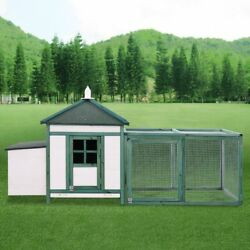 77'' Wooden House Large Chicken Coop Hen Cage with Nesting Box and Run B